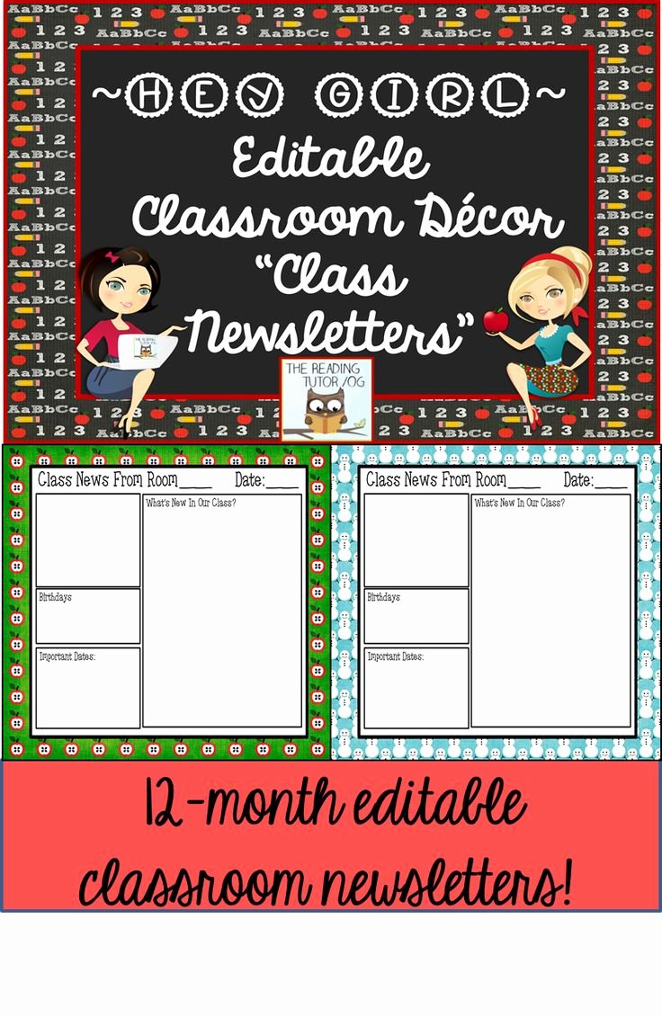One Page Newsletter Template Unique Editable Classroom Newsletter Templates with Monthly