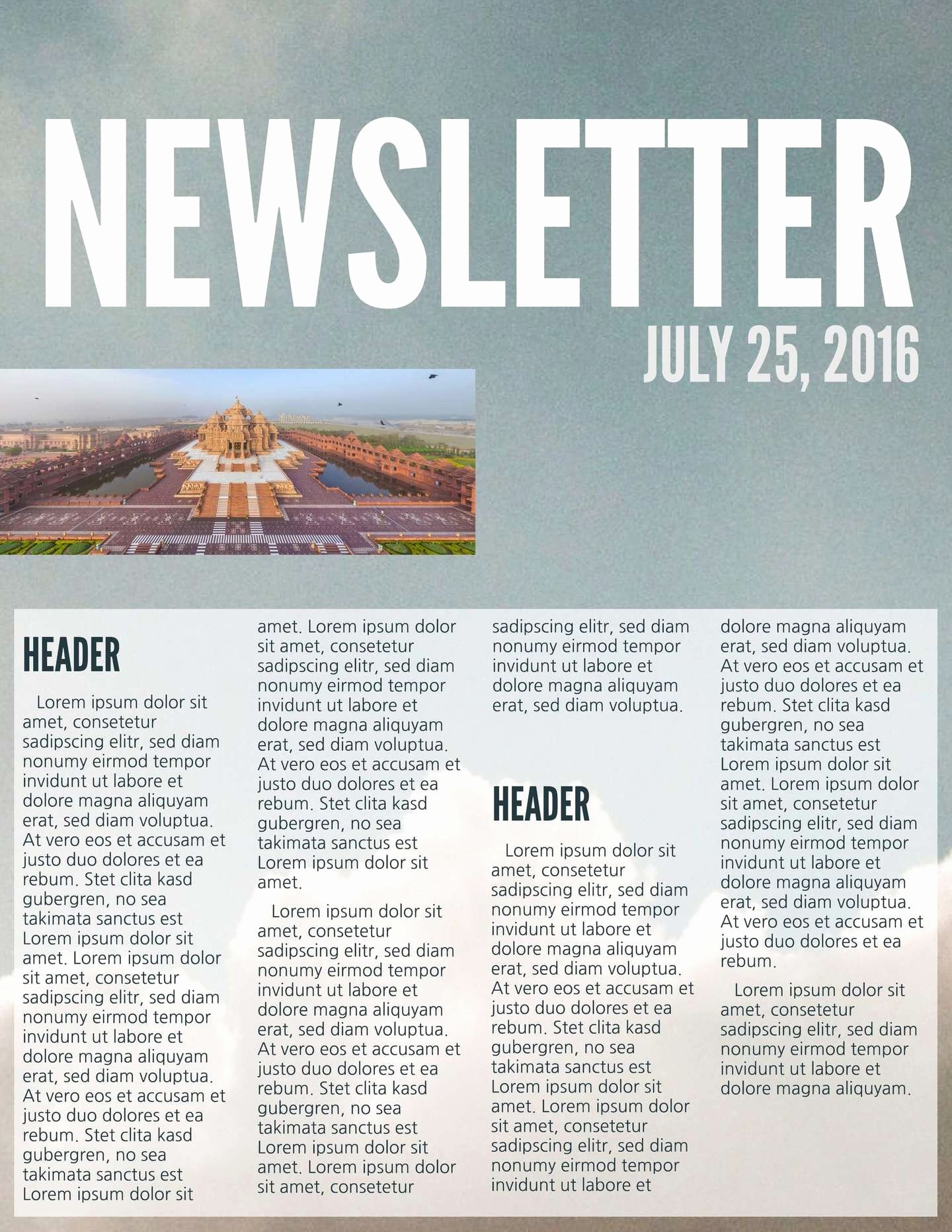 One Page Newsletter Template Unique Free Printable Newsletter Templates & Email Newsletter