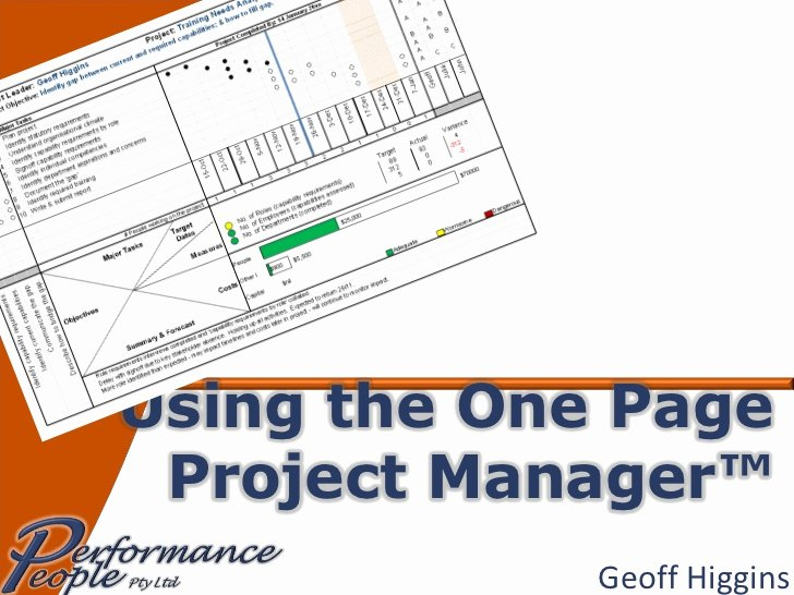 One Page Project Plan Template Elegant Using the E Page Project Manager