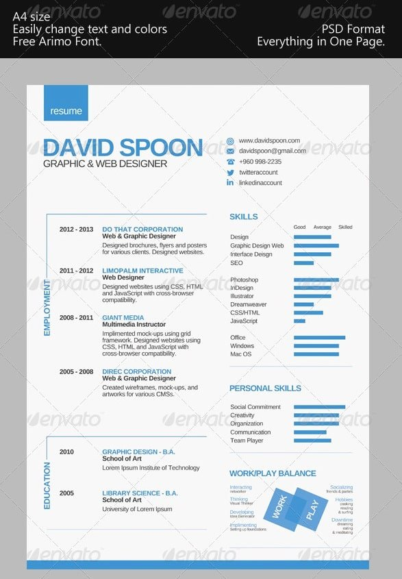 One Page Resume Template Free Awesome Awesome Free Resume Cv Templates 56pixels