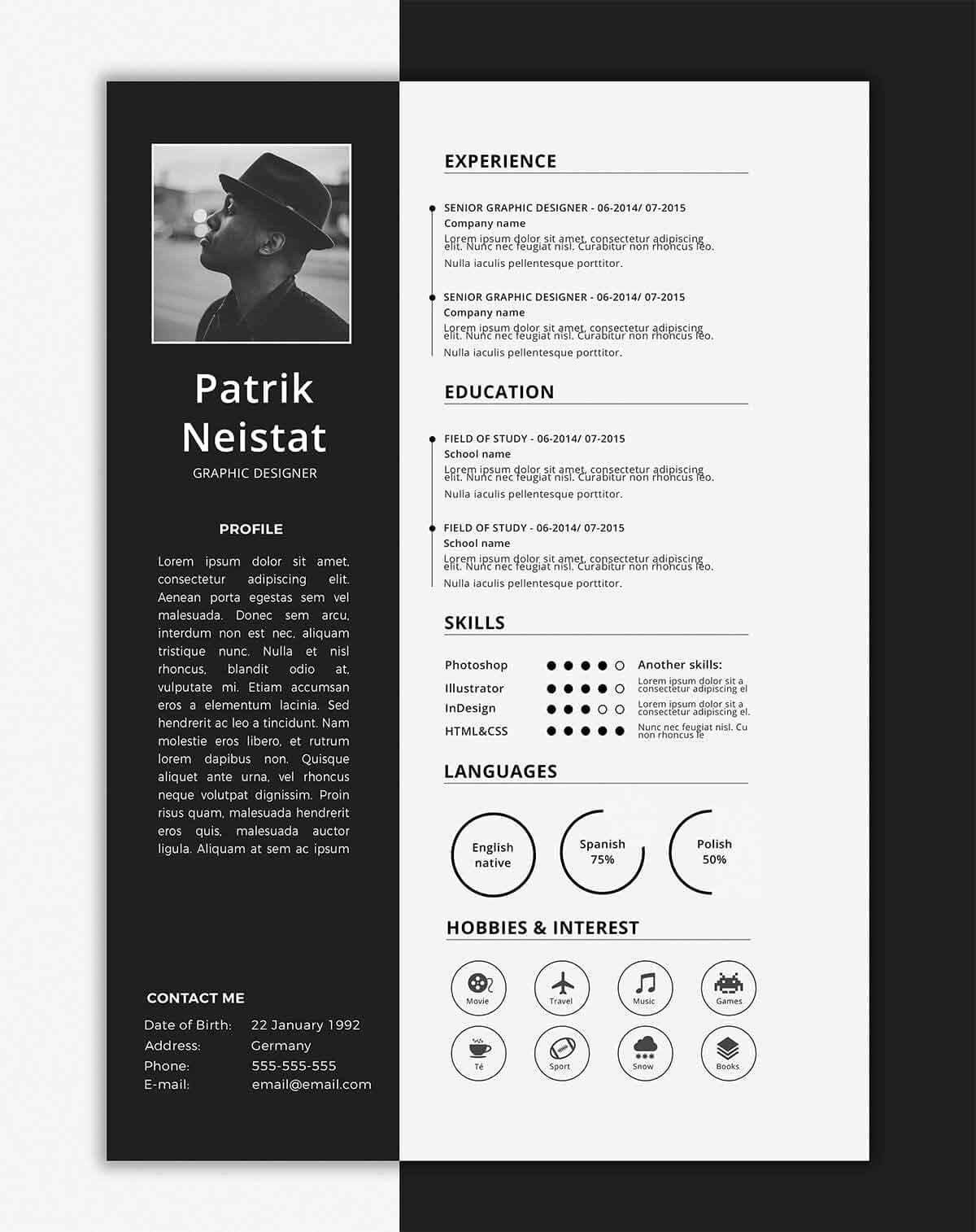 One Page Resume Template Free Awesome E Page Resume Templates 15 Examples to Download and Use now