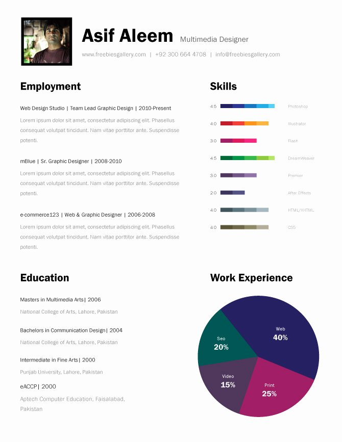 One Page Resume Template Free Elegant Free E Page Resume Templates