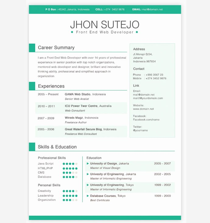 One Page Resume Template Free Fresh 28 Free Cv Resume Templates HTML Psd & Indesign – Web & Graphic Design On Bashooka
