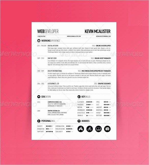 One Page Resume Template Free Inspirational 41 E Page Resume Templates Free Samples Examples