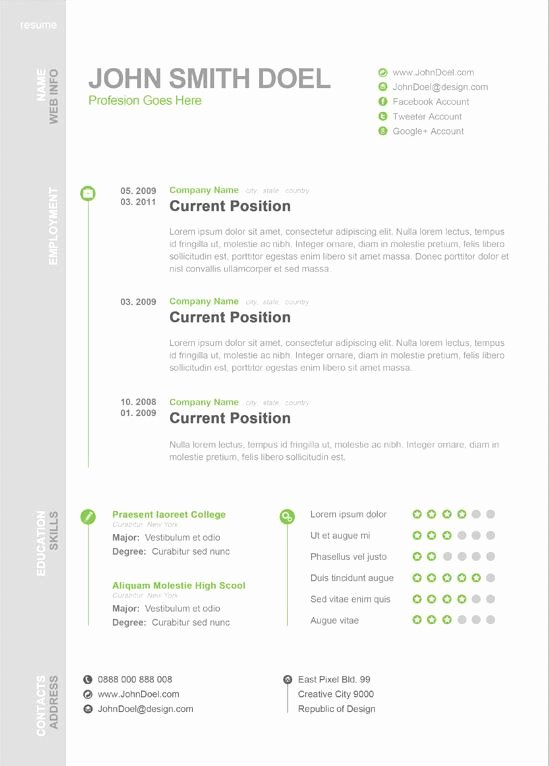 One Page Resume Template Free Luxury Modern One Page Resume Template Creative Resume Templates