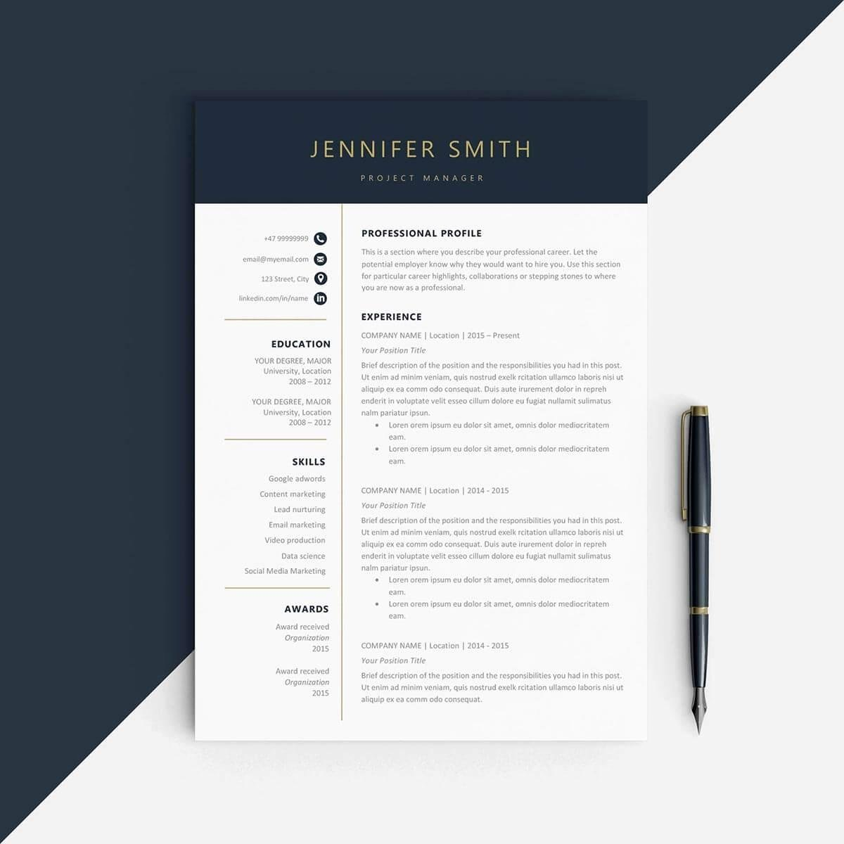 One Page Resume Template Free New E Page Resume Templates 15 Examples to Download and Use now