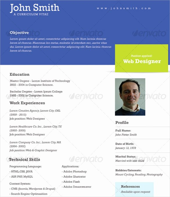 One Page Resume Template Free Unique 41 E Page Resume Templates Free Samples Examples