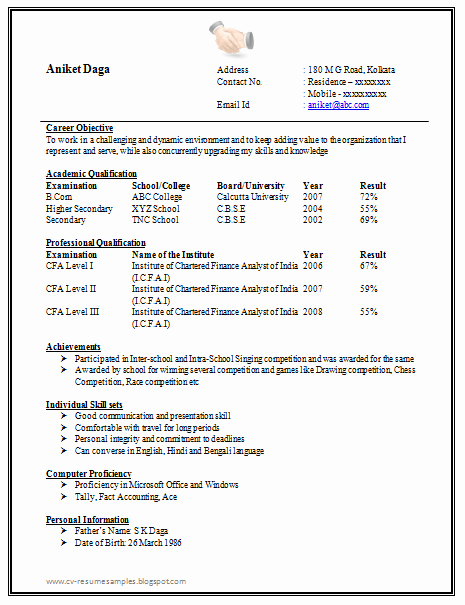 One Page Resume Template Word Beautiful Awesome E Page Resume Sample for Freshers