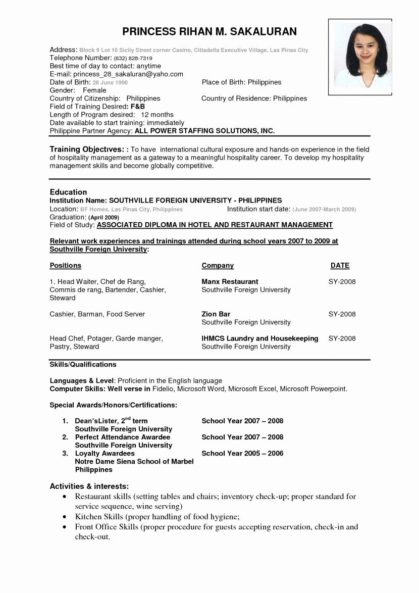 One Page Resume Template Word Beautiful Example Good E Page Resume
