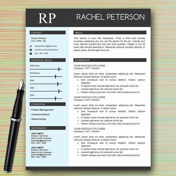 One Page Resume Template Word Beautiful Professional E Page Resume Template for Microsoft Word