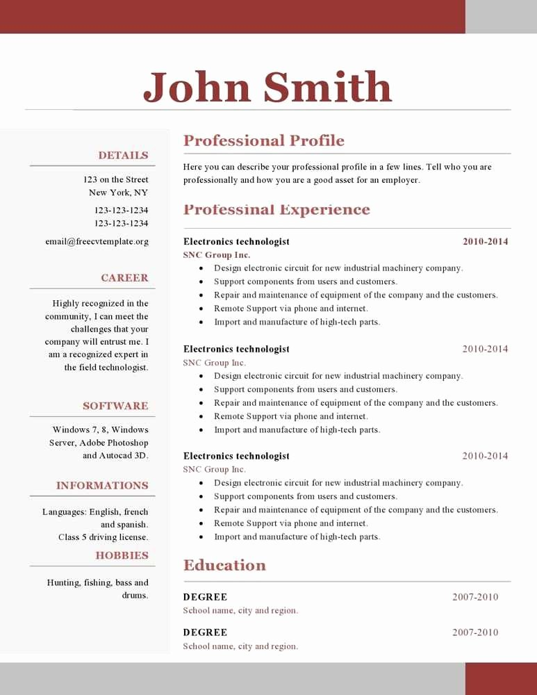 One Page Resume Template Word Best Of 24 Clean E Page Resume format Ub U – Resume Samples