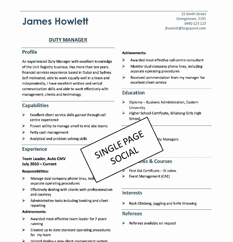 One Page Resume Template Word Best Of Contemporary Resume Templates Free Download Two Column