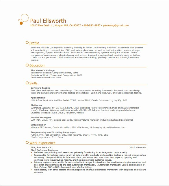 One Page Resume Template Word Elegant E Page Resume Template 12 Free Word Excel Pdf