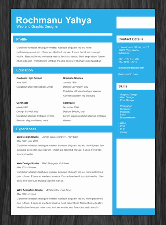 One Page Resume Template Word Fresh 11 Psd E Page Resume Templates Designbump