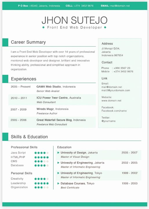 One Page Resume Template Word Inspirational Single Page Curriculum Vitae Template In 5 Basic Colors It