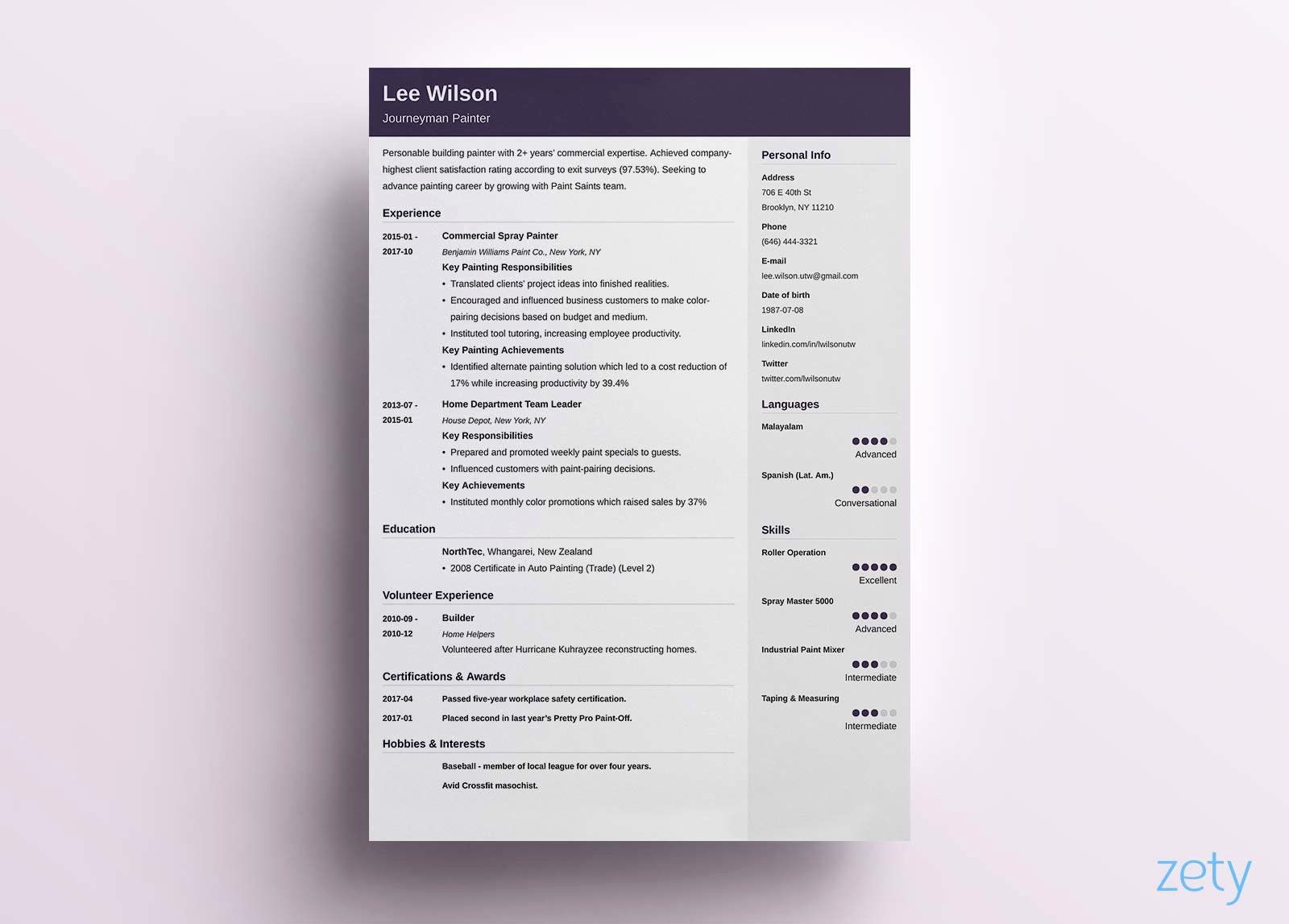 One Page Resume Template Word Lovely E Page Resume Templates 15 Examples to Download and Use now