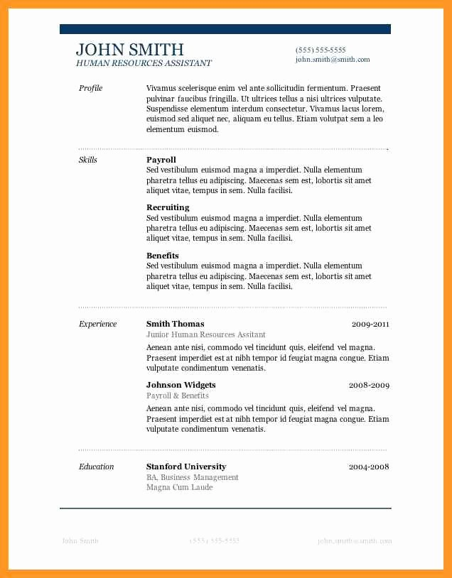 One Page Resume Template Word Lovely Resume Templates for Mac Pages Free