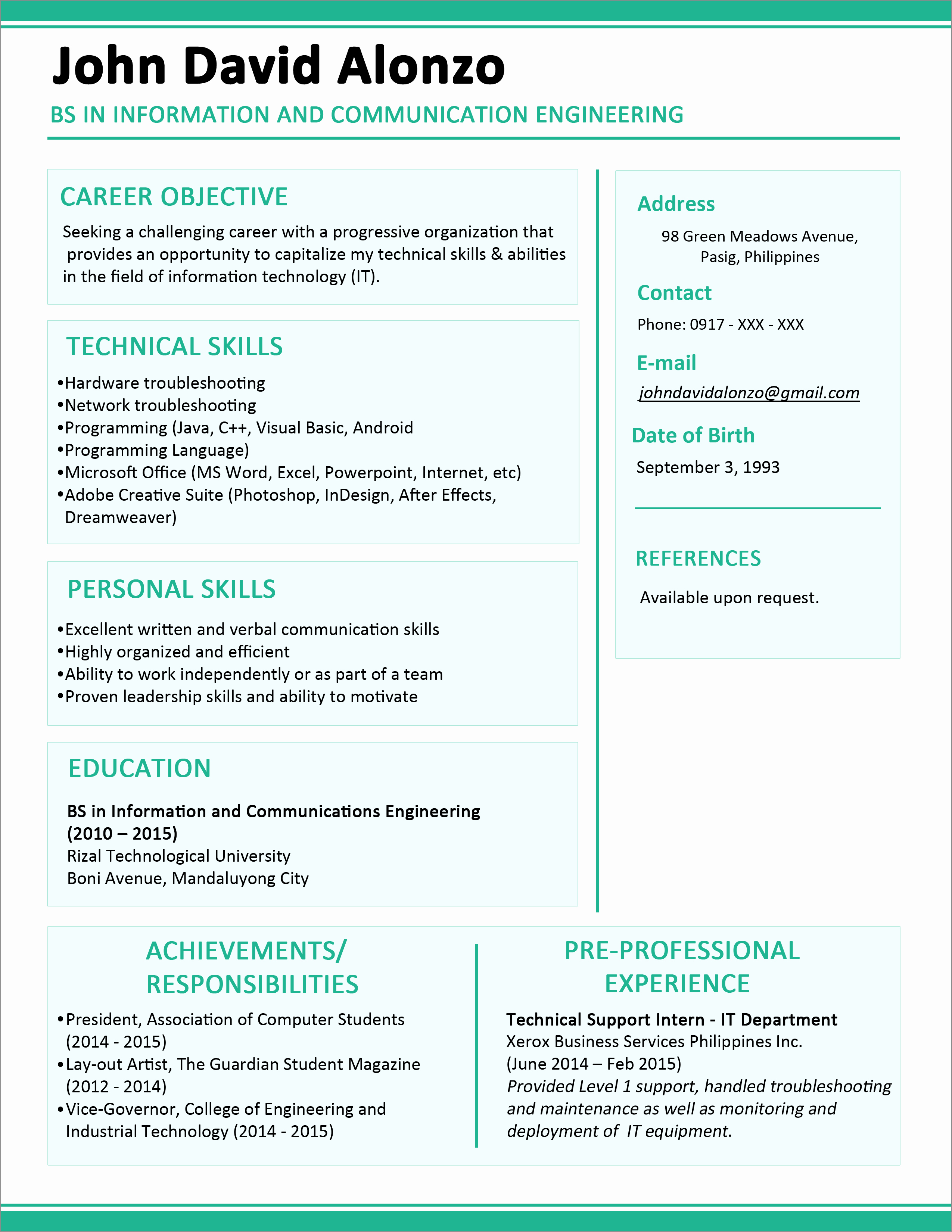 One Page Resume Template Word Luxury Sample Resume format for Fresh Graduates E Page format