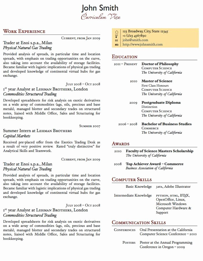 One Page Resume Template Word Luxury Two Column E Page Cv Resume Template