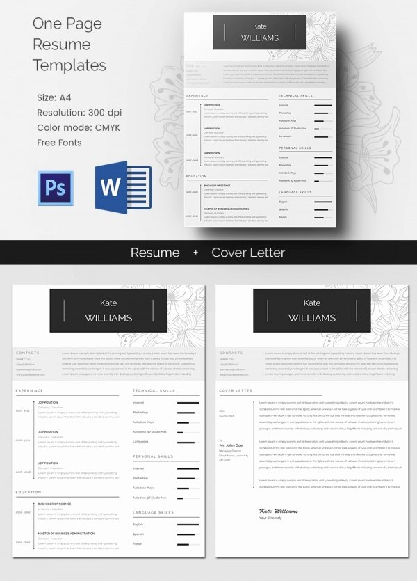 One Page Resume Template Word New Microsoft Word Resume Template – 99 Free Samples