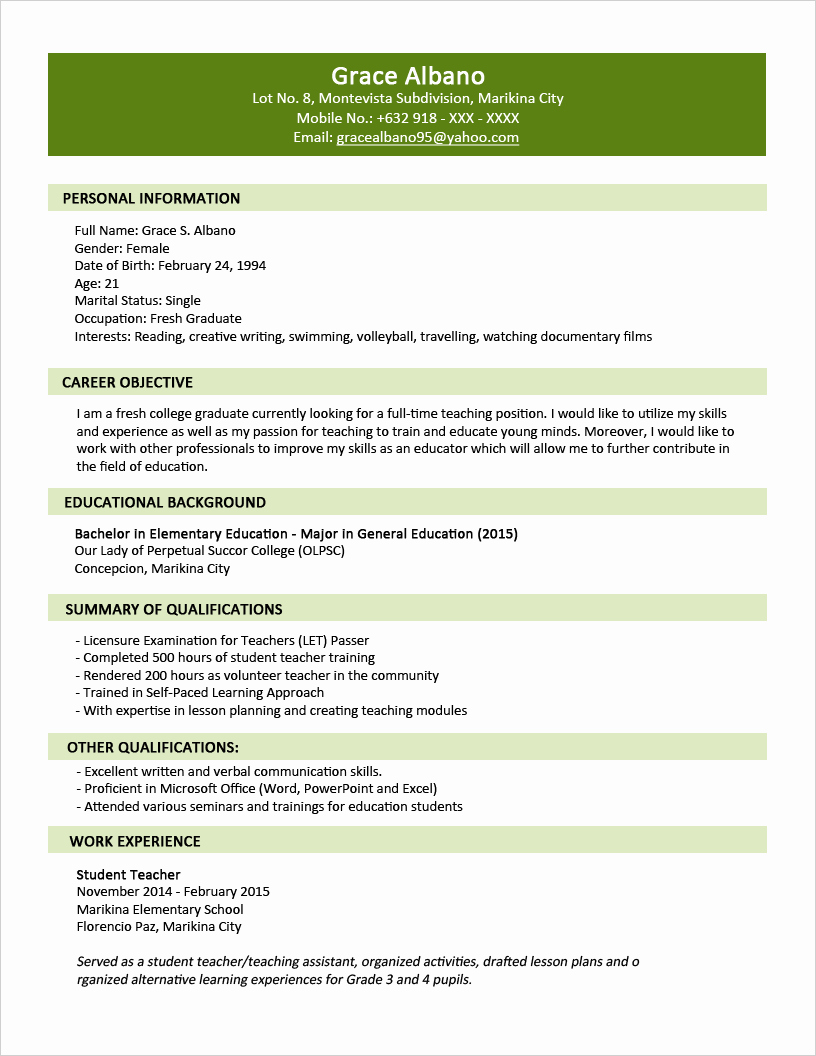 One Page Resume Template Word New Sample Resume format for Fresh Graduates Two Page format