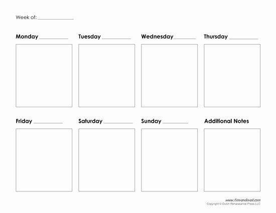 One Week Schedule Template Beautiful Printable Weekly Calendar Template Free Blank Pdf
