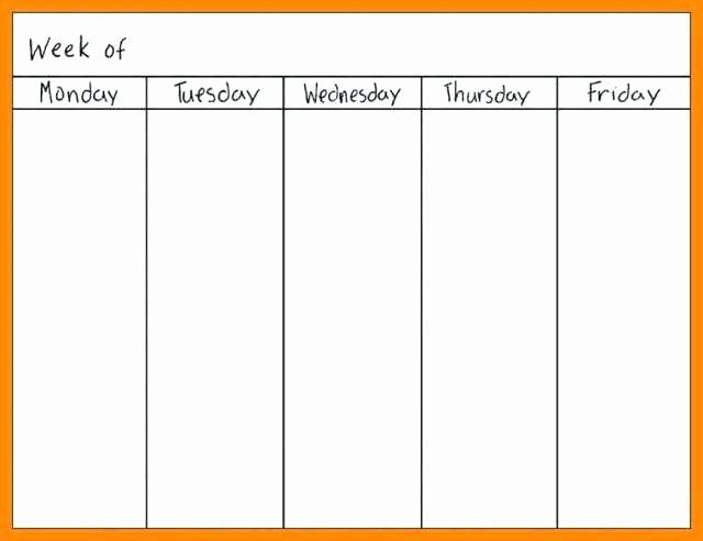 One Week Schedule Template Best Of Blank Weekly Calendar Professional E Week Template