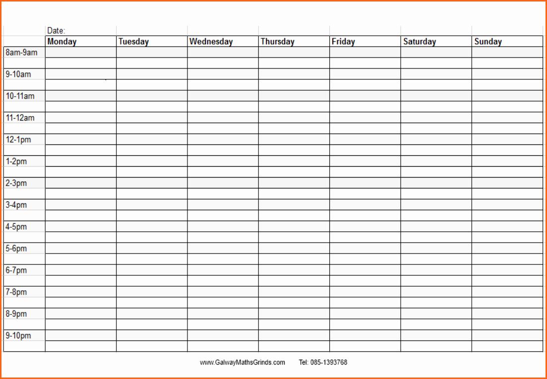 One Week Schedule Template Best Of Weekly Time Schedule Template