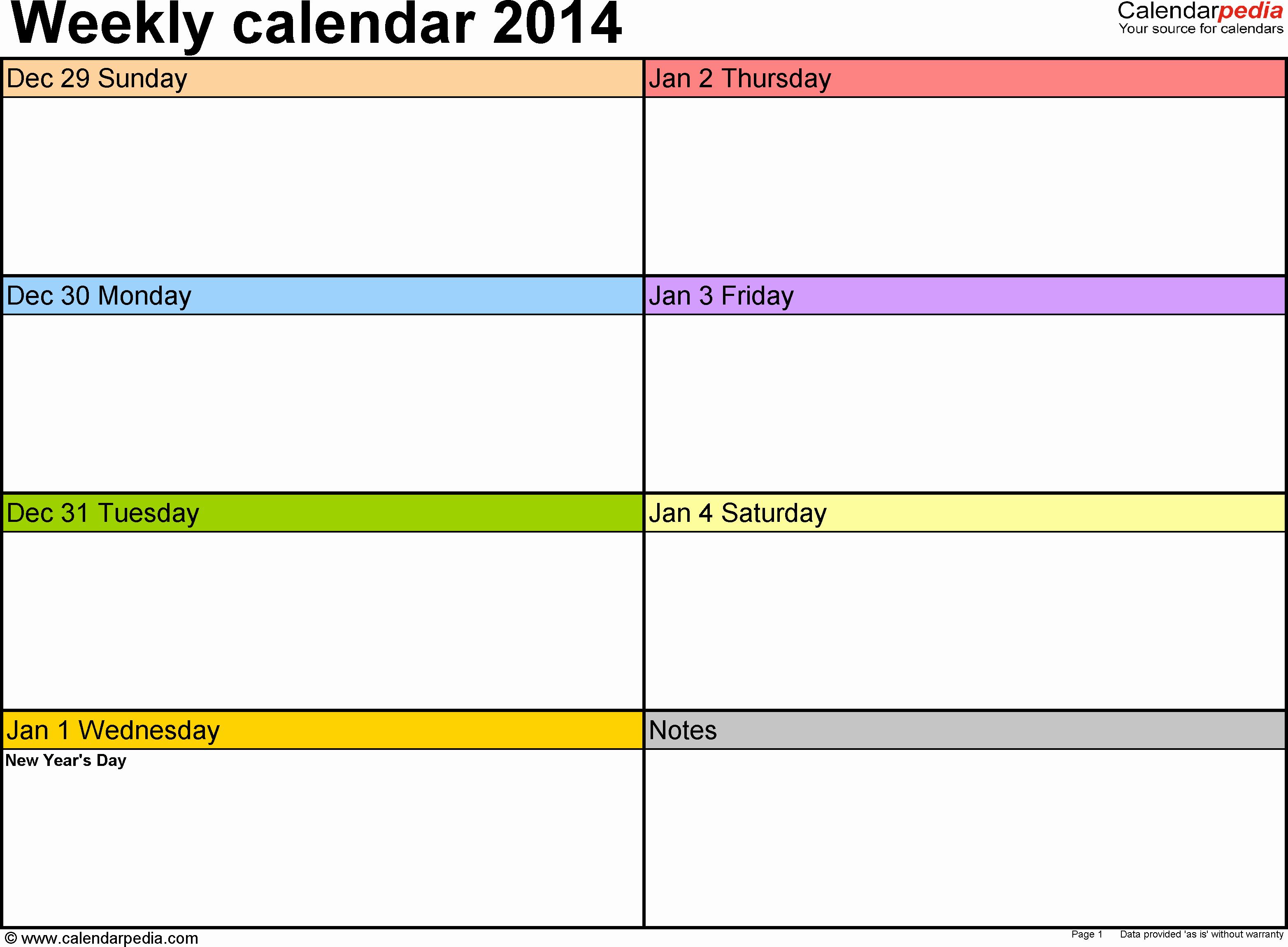 One Week Schedule Template Fresh Weekly Calendar 2014 for Pdf 4 Free Printable Templates