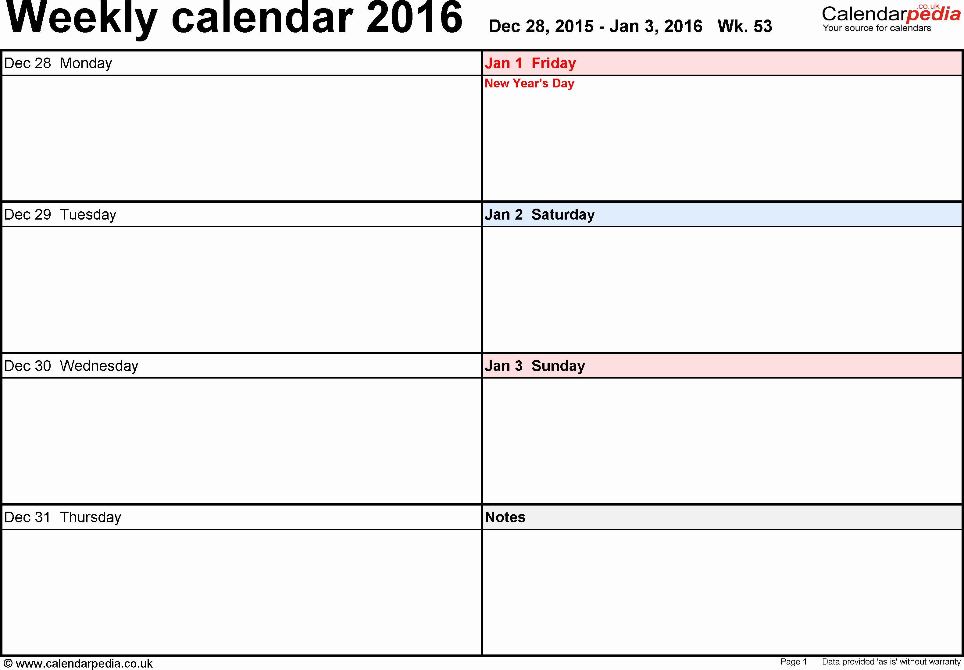 One Week Schedule Template Fresh Weekly Calendar 2016 Uk Free Printable Templates for Word