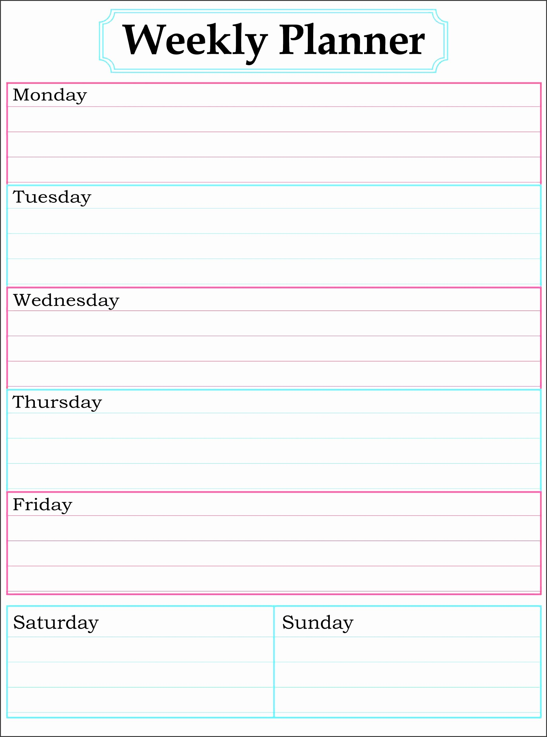 One Week Schedule Template Lovely 11 E Week Planner for Employees Sampletemplatess