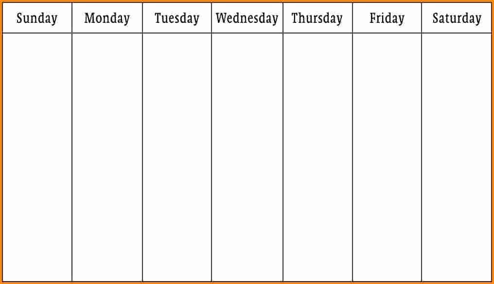 One Week Schedule Template Lovely E Week Printable Calendar 1 Week Calendar Template