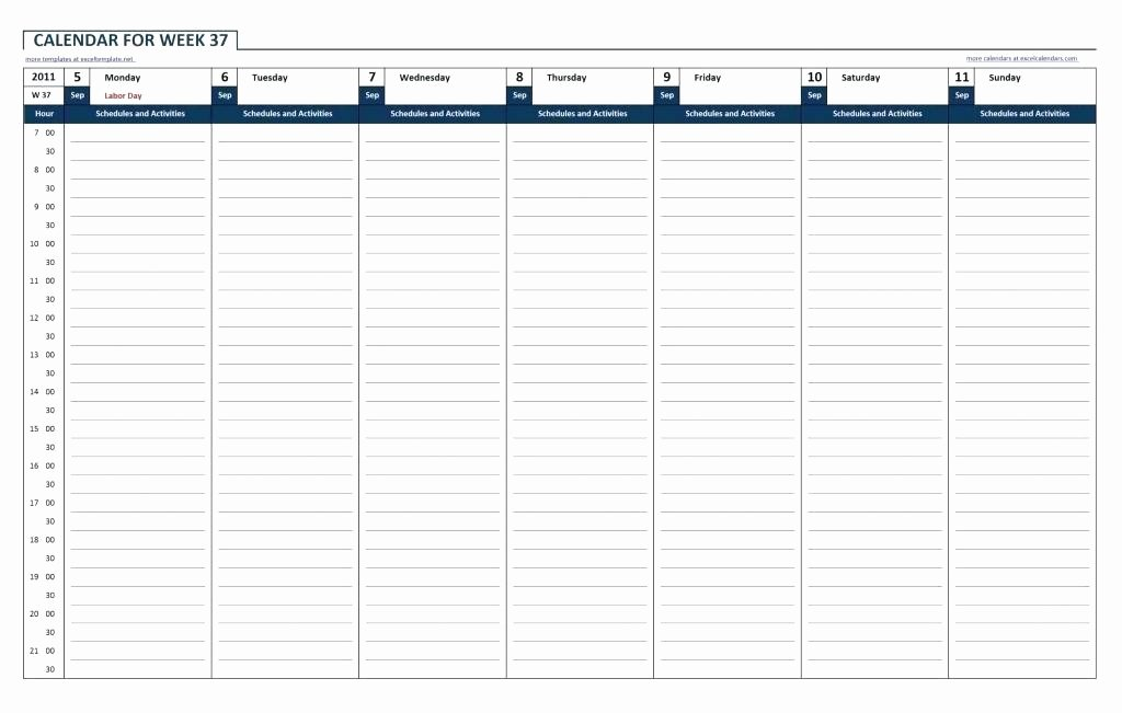 One Week Schedule Template Lovely Weekly Planner Excel Hourly Template Free Schedule