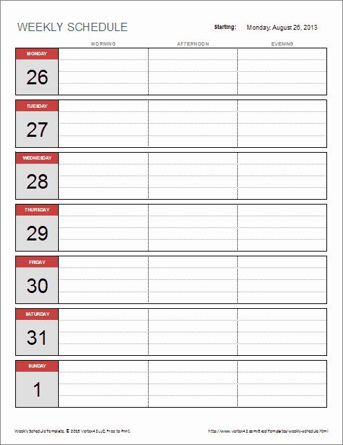 One Week Schedule Template Luxury 6 Weekly Schedule Templates Word Excel Pdf Templates