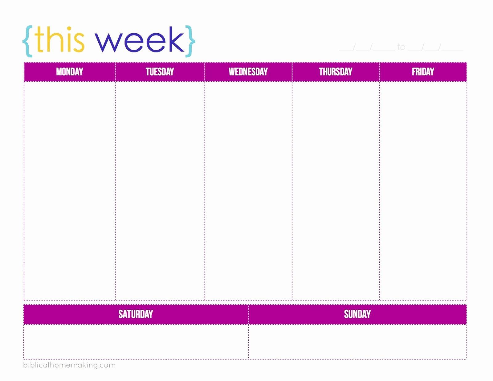 One Week Schedule Template Luxury E Week Calendar Template