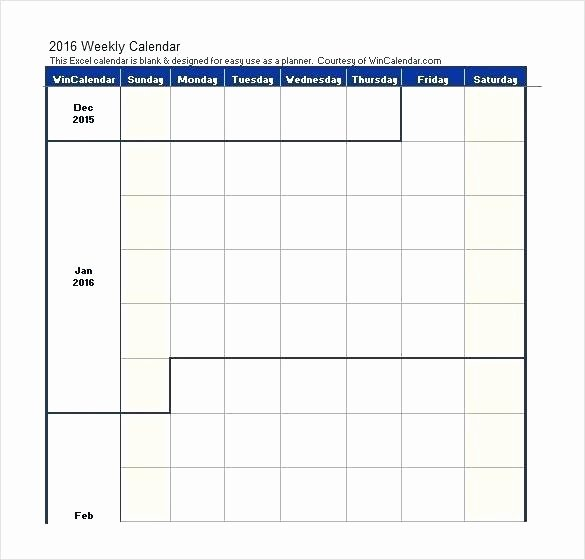 One Week Schedule Template Luxury Weekly Calendar Excel Template Blank – Techshopsavingsfo