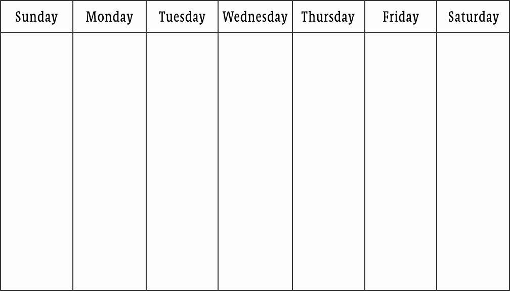 One Week Schedule Template New Blank Calendars Weekly Blank Calendar Templates