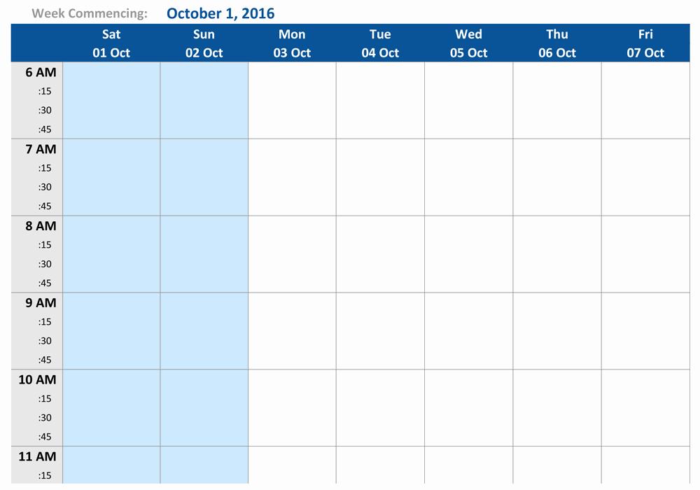 One Week Schedule Template New October 2016 Weekly Schedule Template Word Pdf
