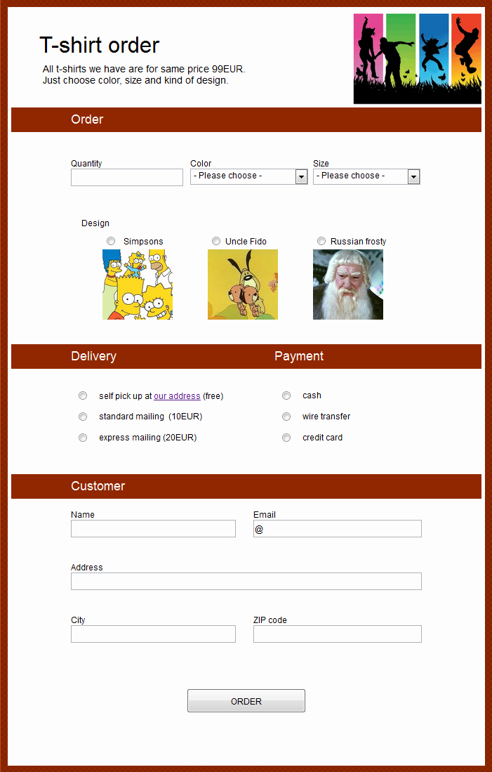 Online order form Template Beautiful order form Creator