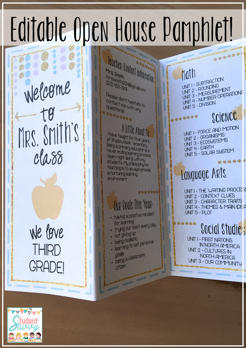Open House Brochure Template Awesome Open House Back to School Night & Meet the Teacher