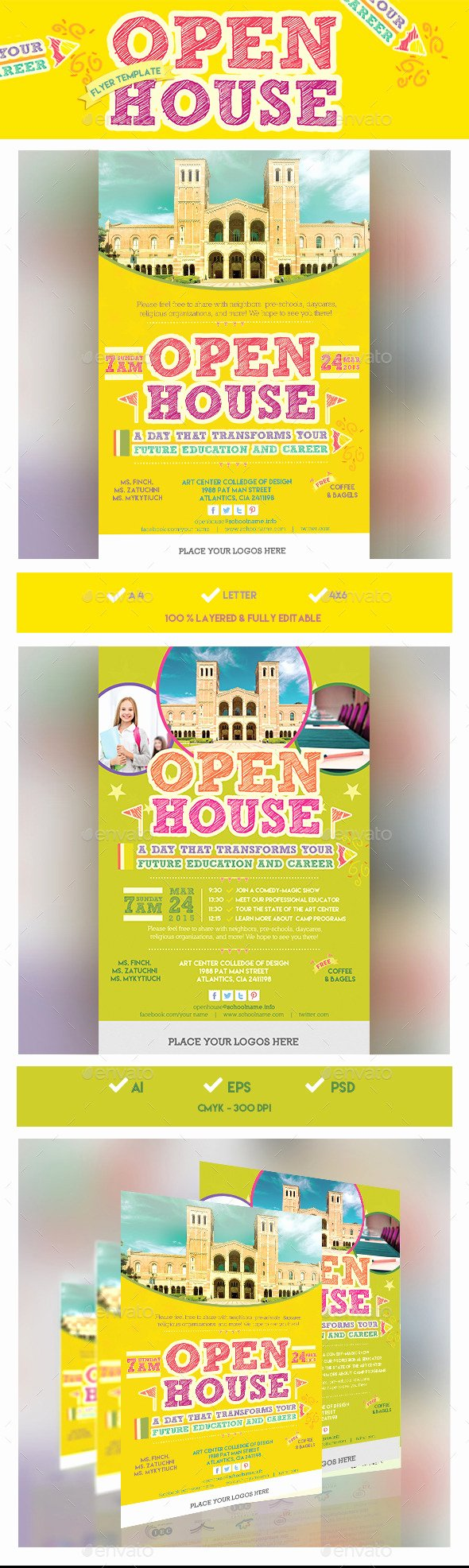 Open House Brochure Template Elegant School Open House Flyer Template Design Conference