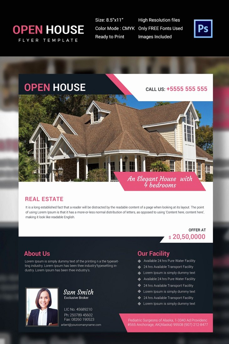 Open House Brochure Template Unique 27 Open House Flyer Templates Printable Psd Ai Vector