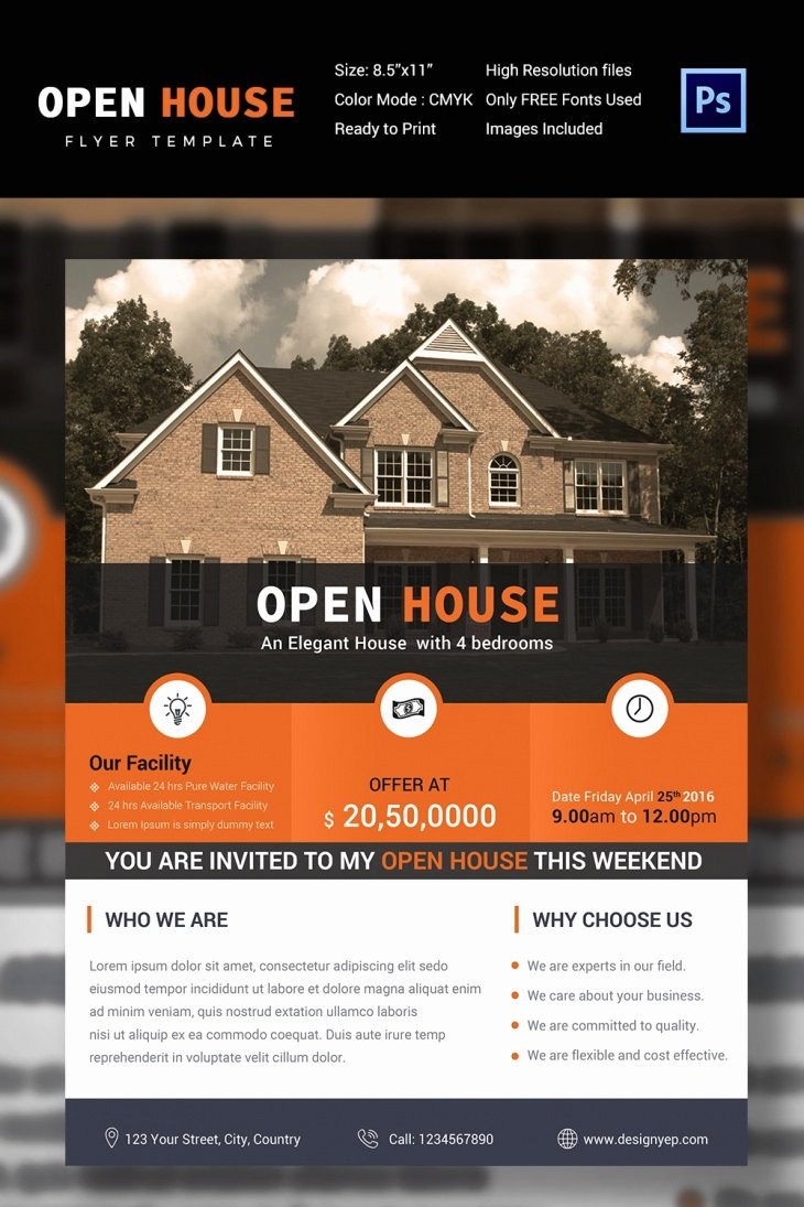 Open House Flyers Template Beautiful 27 Open House Flyer Templates Printable Psd Ai Vector