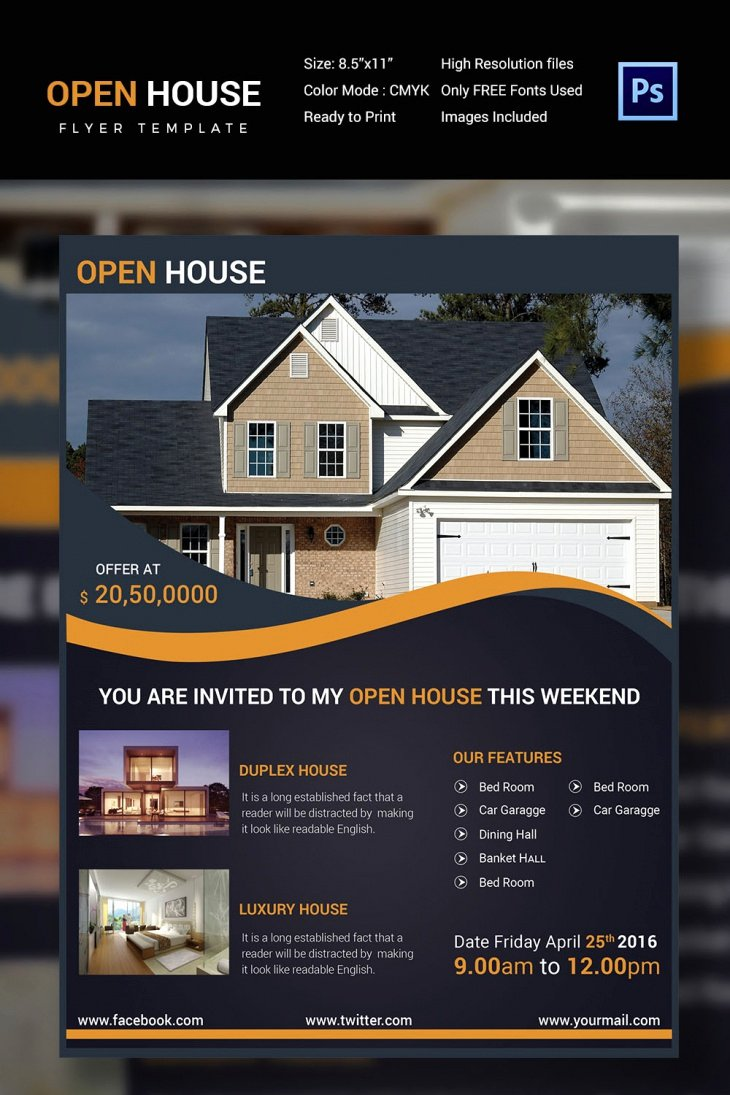 Open House Flyers Template Best Of 27 Open House Flyer Templates Printable Psd Ai Vector