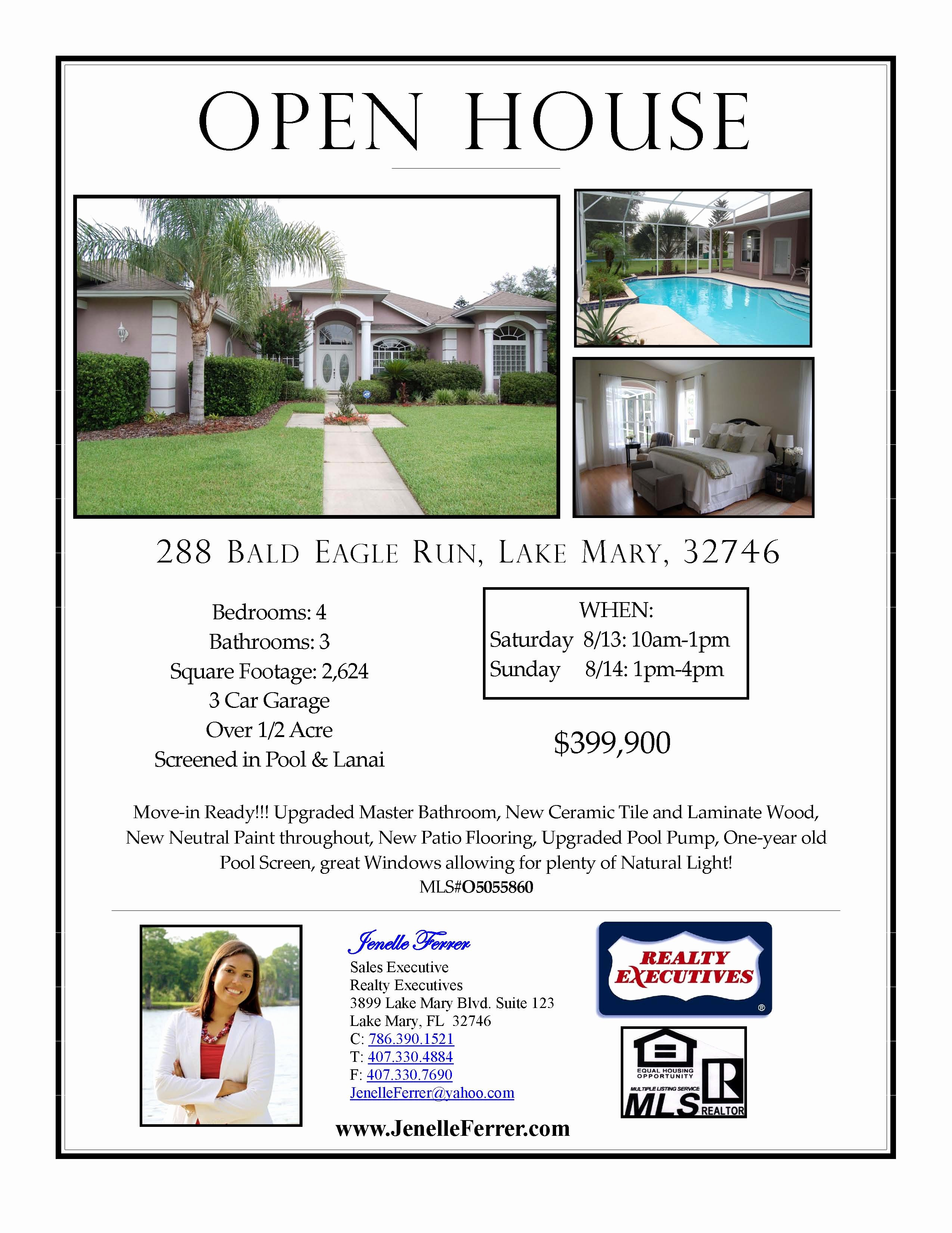 Open House Flyers Template Inspirational Your Central Florida Realtor