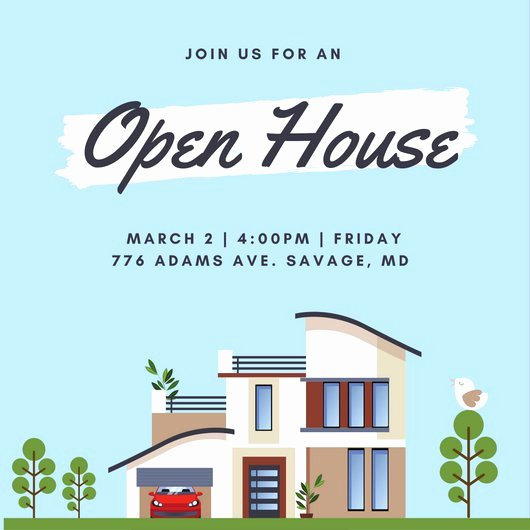Open House Postcard Template Best Of Open House Invitation Templates Canva
