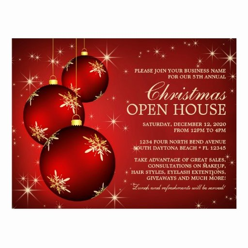Open House Postcard Template Elegant Elegant Christmas Open House Invitation Template Postcard