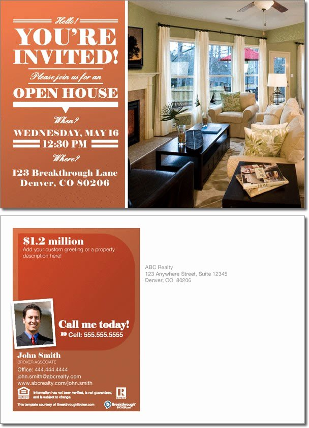 Open House Postcard Template Fresh Open House Invitation Postcard