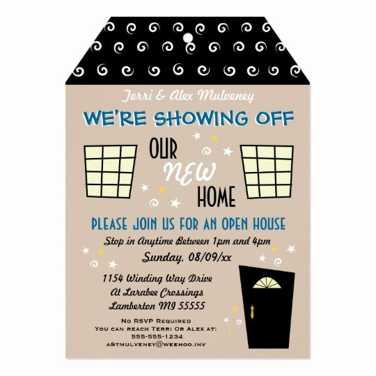 Open House Postcard Template Lovely Whimsical Tag Cut Open House Invitation