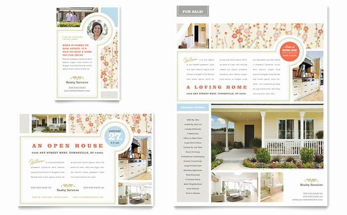 Open House Postcard Template New Real Estate Home for Sale Flyer & Ad Template Design